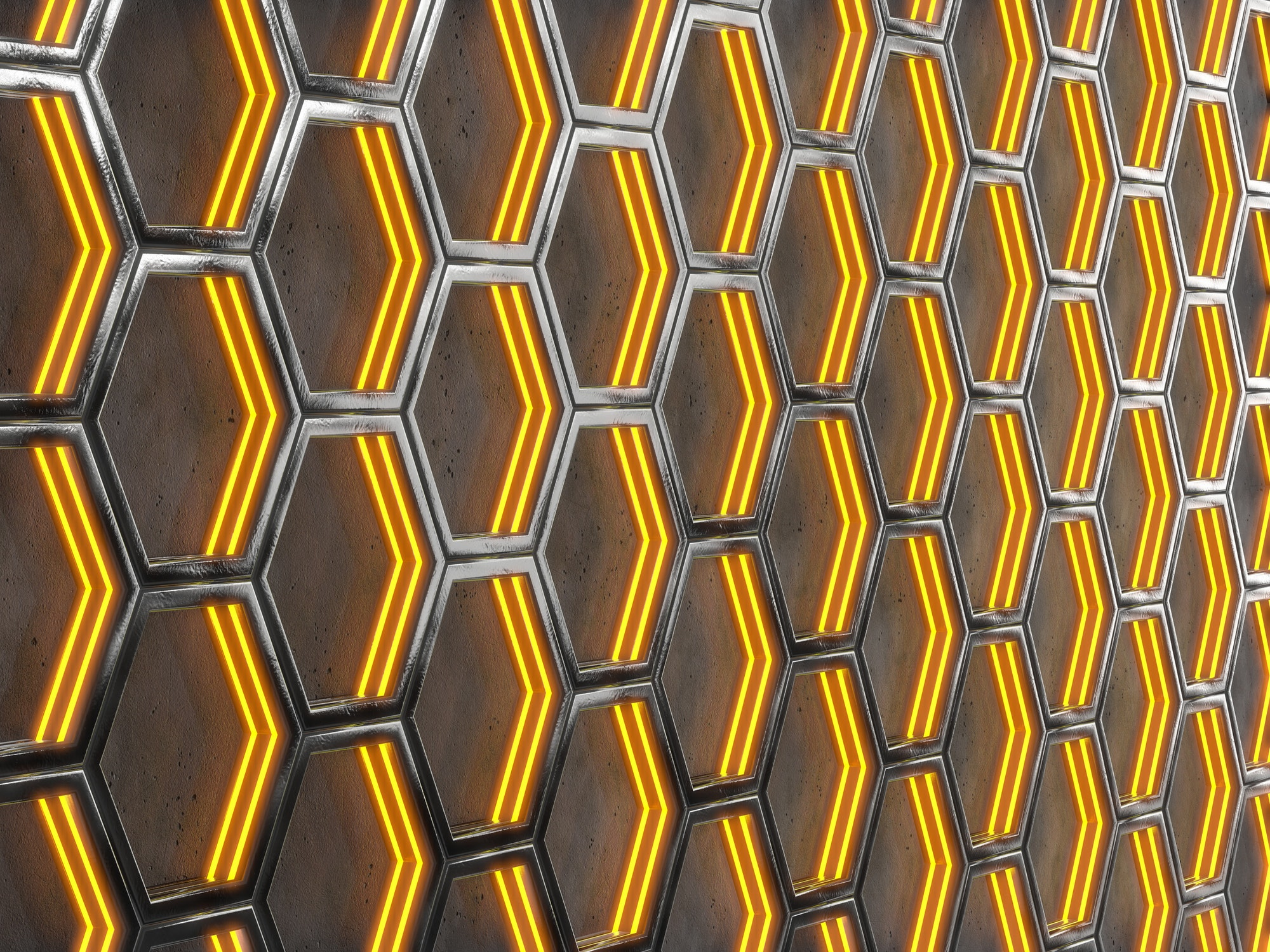 Glowing hexagonal cells on a concrete background. Abstract background with geometric structure.