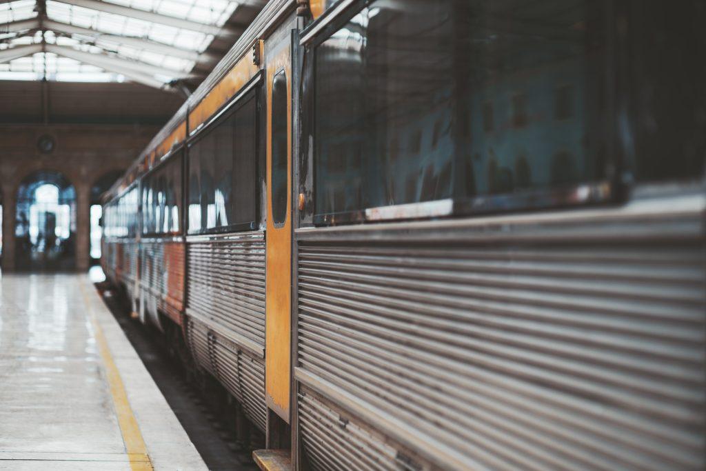 A modern high-speed train in a depot