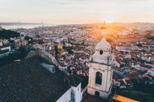 Aerial view beautiful cityscape of Lisbon at sunset