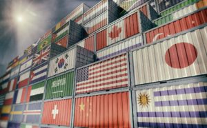Container Terminal - Freight container with different national flag designs