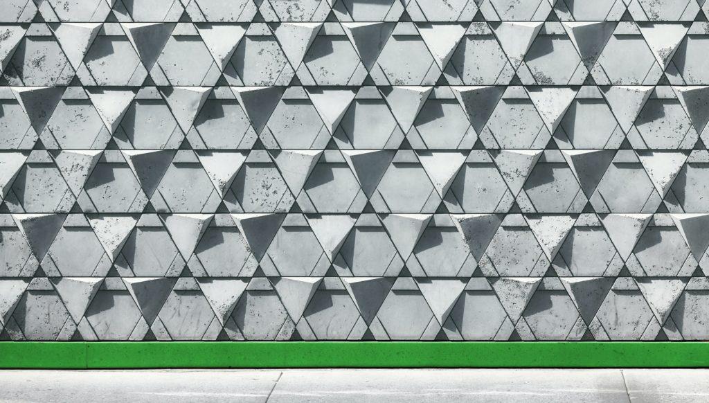 Triangular concrete wall