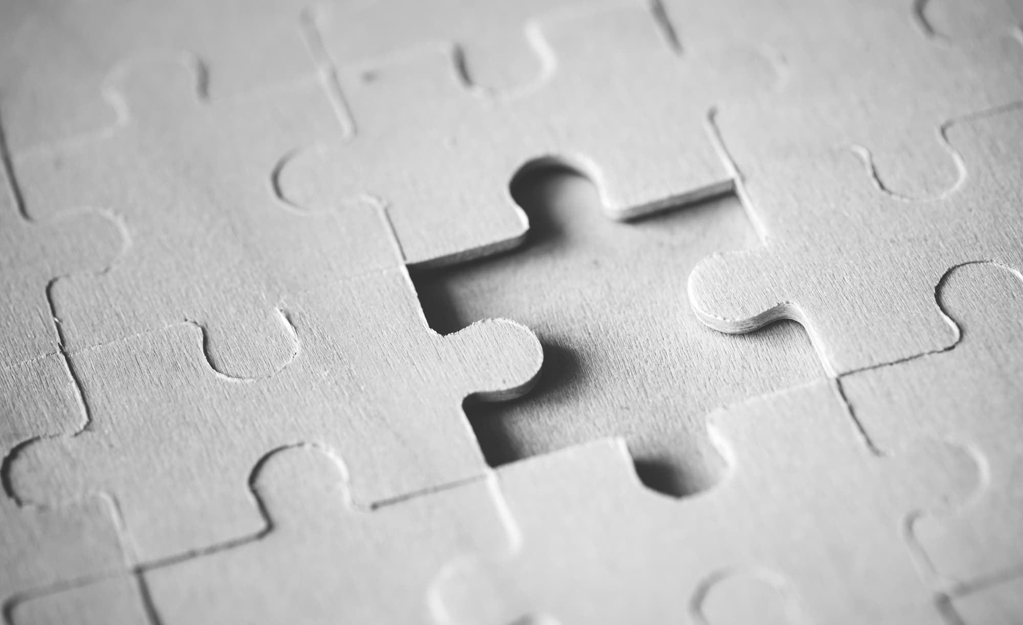 macro shot jigsaw puzzle missing solution concept